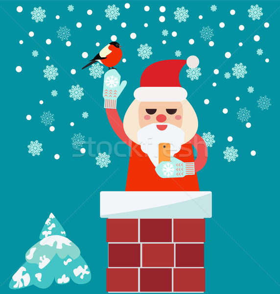 Christmas card with Santa Claus in Chimney  holding smart phone  Stock photo © Margolana