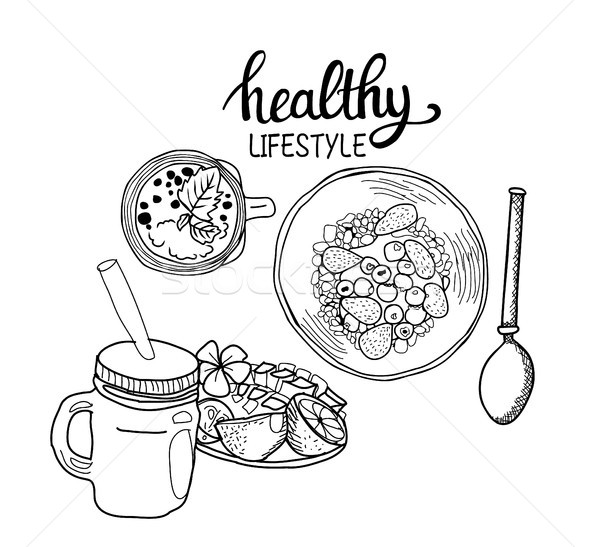 healthy breakfast Cereal granola Bowl, Spoon and fresh smoothie. Stock photo © Margolana
