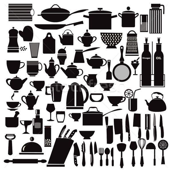 Mutfak restoran ikon mutfak gereçleri vektör ayarlamak Stok fotoğraf © Margolana