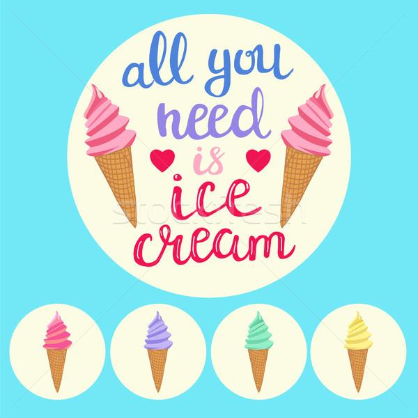 カラフル アイスクリーム 文字 手 必要 ストックフォト © Margolana