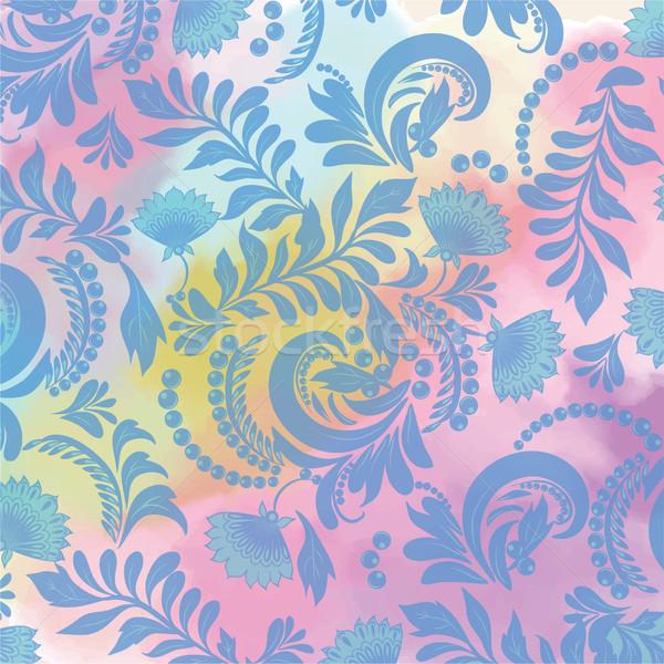 水彩画 フローラル シームレス 青 パターン 装飾的な ストックフォト © Margolana