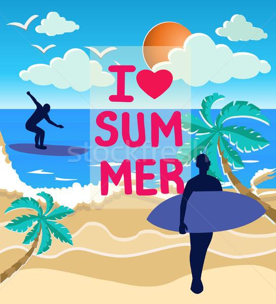 Ilustración mar sol surfistas siluetas playa Foto stock © Margolana