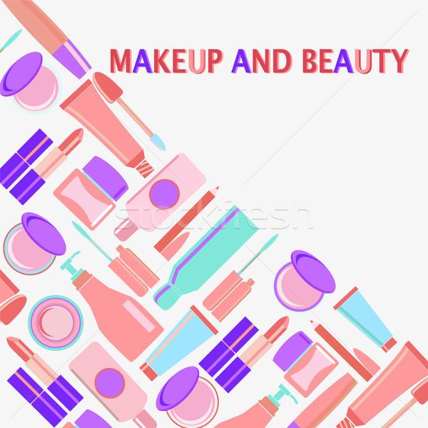 Makyaj güzellik semboller kozmetik moda nesneler Stok fotoğraf © Margolana