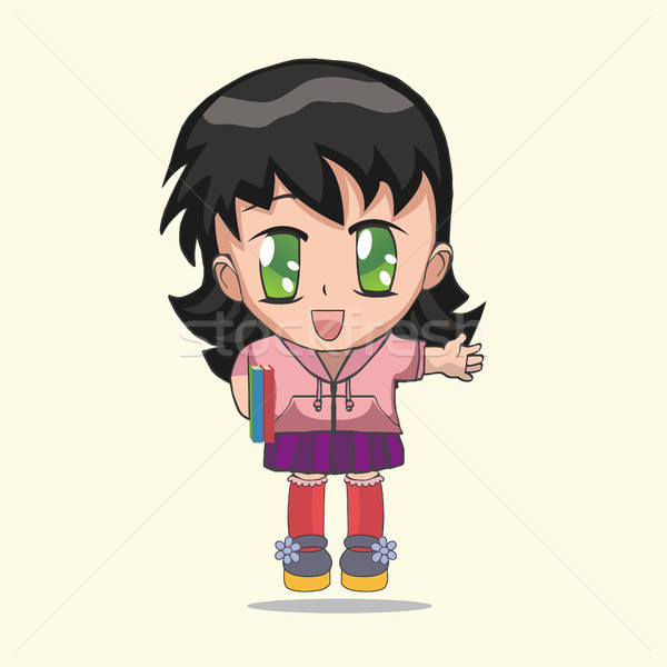 Cute anime chibi little girl. Stock photo © Margolana