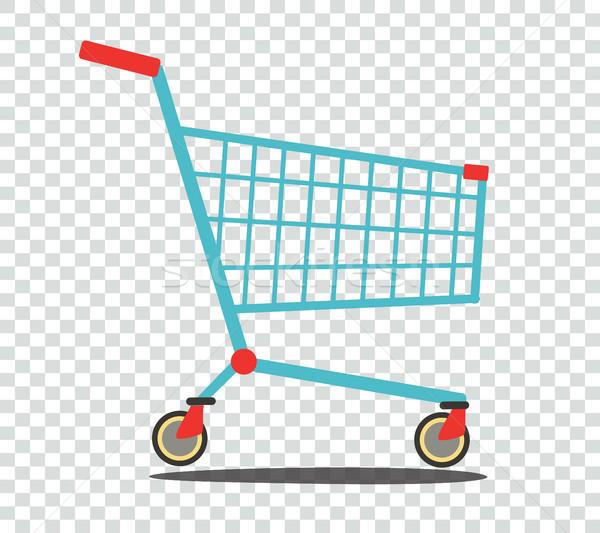 Stockfoto: Lege · supermarkt · winkelwagen · geïsoleerd · zijaanzicht · business