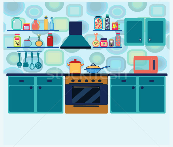 interior kitchen with cooking equipment in geometric background Stock photo © Margolana
