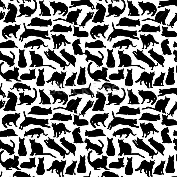 background with cats collection silhouette Stock photo © Margolana