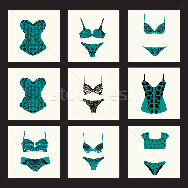 Fashion bra sets with different styles of bra and woman panties. Stock photo © Margolana