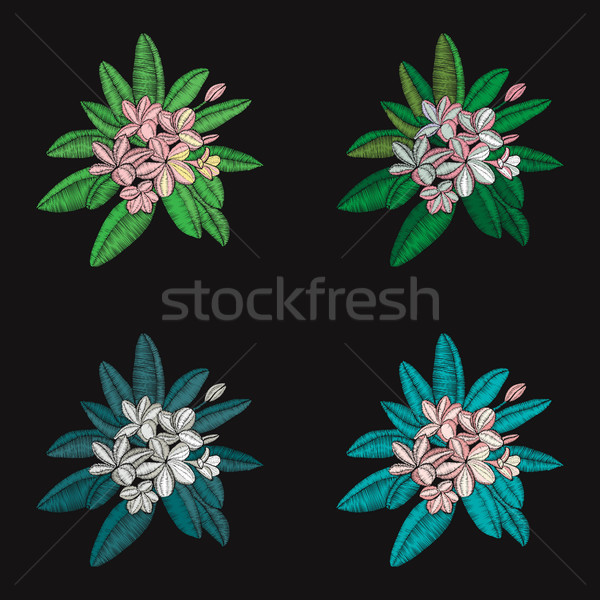 set of floral pattern with  flowers embroidery Frangipani and le Stock photo © Margolana