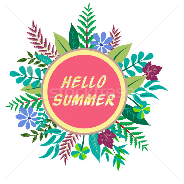 Hello Summer background and round frame Stock photo © Margolana