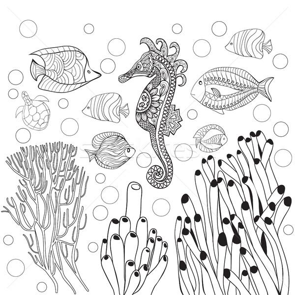 Sualtı dünya deniz hayat at vektör Stok fotoğraf © Margolana