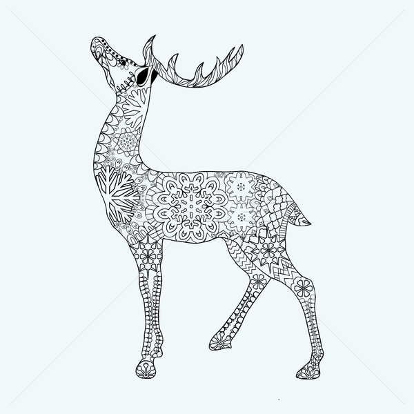 Deer with text and background - Christmas Coloring Pages for ... | 600x600
