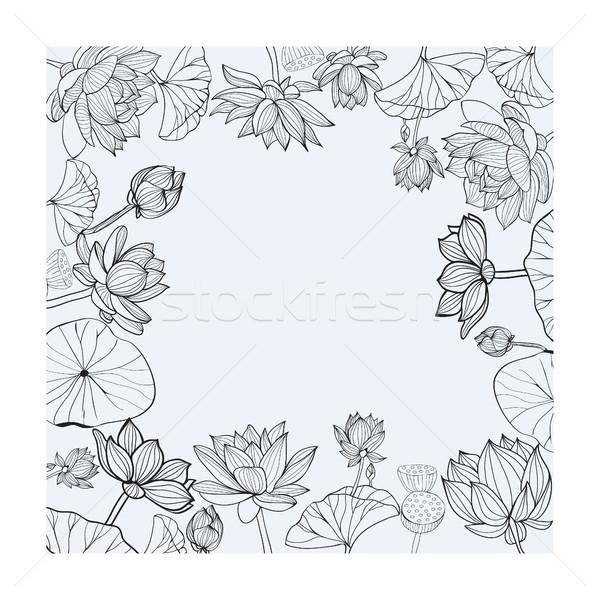 ベクトル 手描き フローラル フレーム 黒白 花 ストックフォト © Margolana