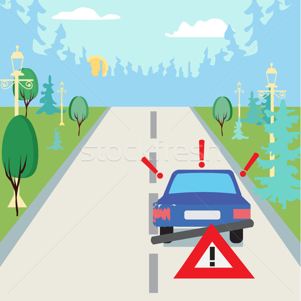 Accident car at suburbs on the road and traffic sign behind.  Stock photo © Margolana