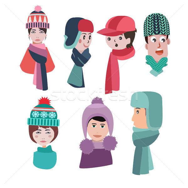 Saison d'hiver homme femme vecteur Photo stock © Margolana