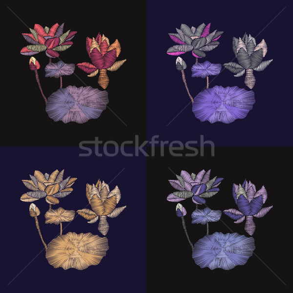 set of embroidery floral pattern with lotus and leaves on dark b Stock photo © Margolana
