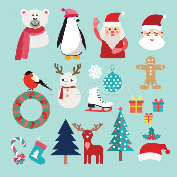 Christmas set with Santa Claus, snowman, reindeer, penguin  Stock photo © Margolana