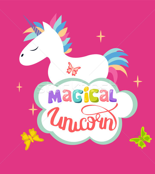 Cute Magical Unicorn isolated on pink background and text magica Stock photo © Margolana