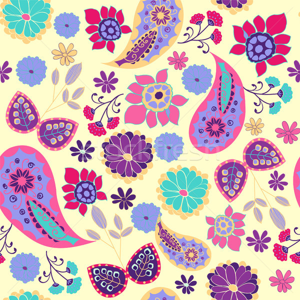Pattern of paisley, leaves and flowers summer decorative backgro Stock photo © Margolana