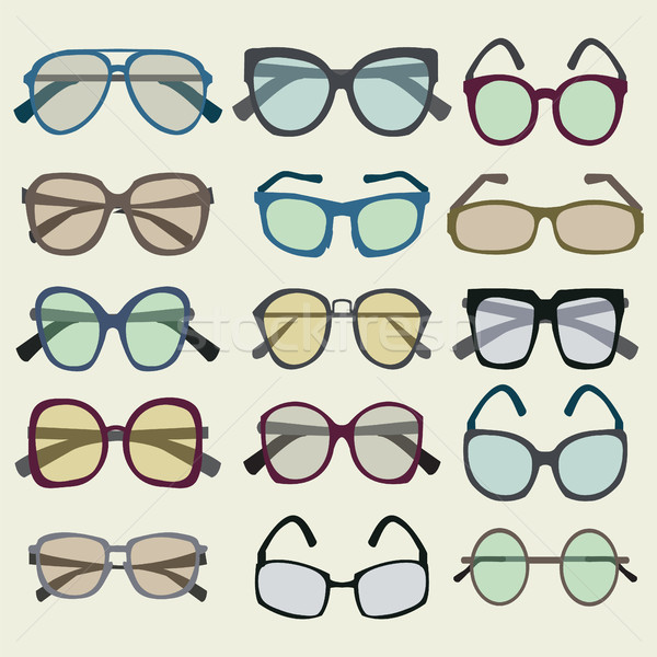 Moda set icona colorato occhiali da sole vettore Foto d'archivio © Margolana