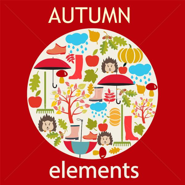 Vettore set autunno oggetti icona cartoon Foto d'archivio © Margolana