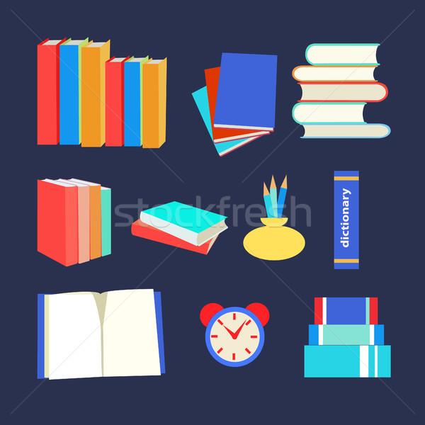 Kitaplar ayarlamak ikon dizayn stil vektör Stok fotoğraf © Margolana