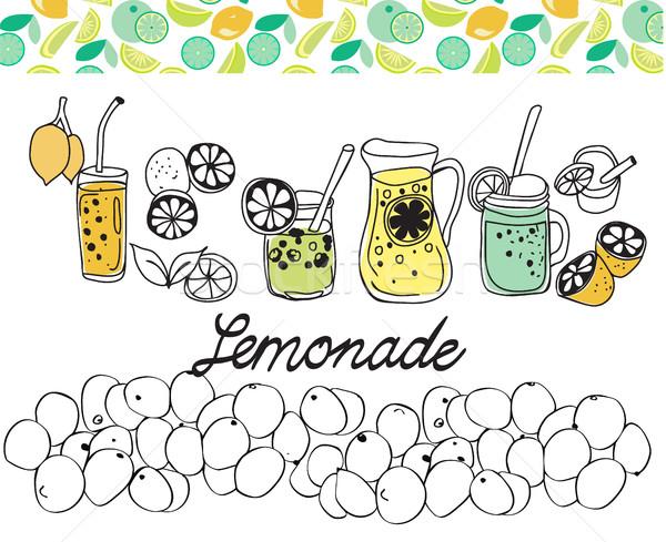 Hand drawn set of lemonade on white background. Stock photo © Margolana