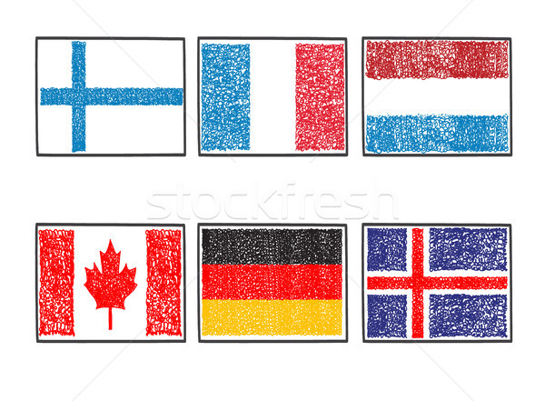 flags of the world icon in cartoon scribble style on a white bac Stock photo © Margolana