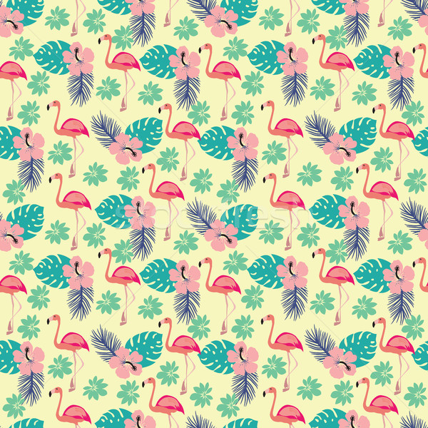 pattern with flamingo and palm leaves, exotic birds and flowers Stock photo © Margolana