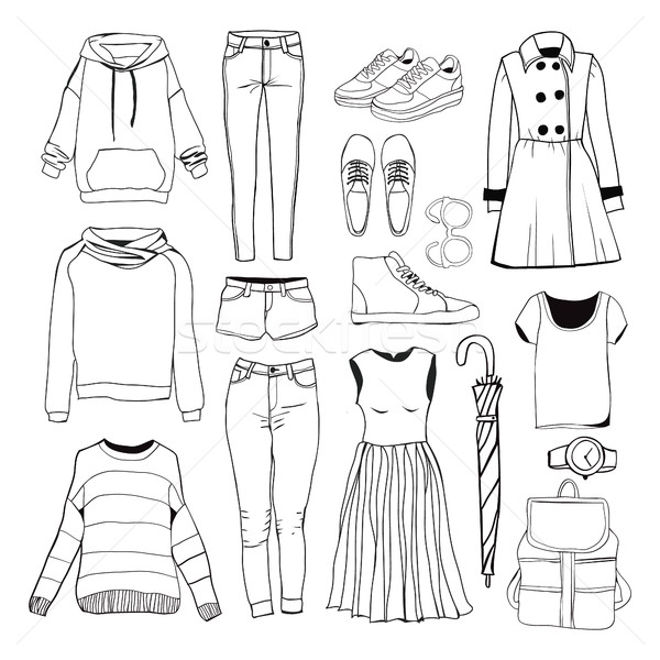 Set of women's sport clothes. Woman clothing set.  Stock photo © Margolana