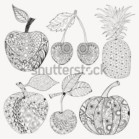 Karalama Ayarlamak Meyve Boyama Kitabı Sayfa Vektör