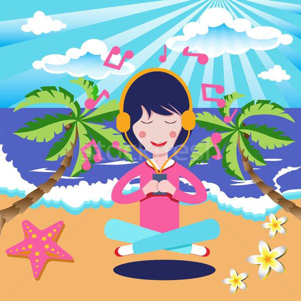 Menina feliz fones de ouvido ouvir música beira-mar praia desenho animado Foto stock © Margolana