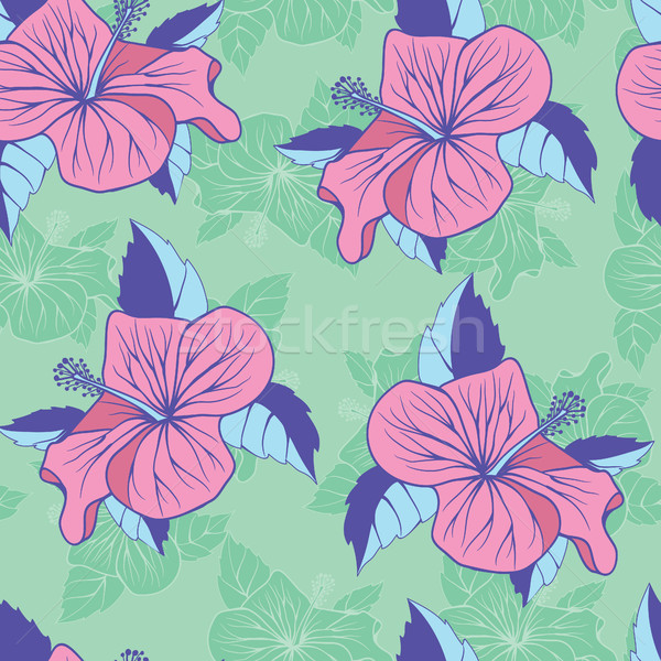 Flowers hibiscus exotic seamless decorative background  Stock photo © Margolana