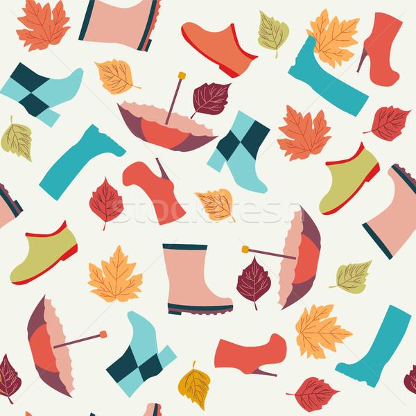 紅葉 ブーツ 傘 ベクトル 傘 色 ストックフォト © Margolana