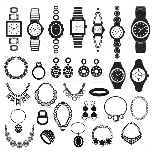 icons set with fashion watches and jewelry Stock photo © Margolana