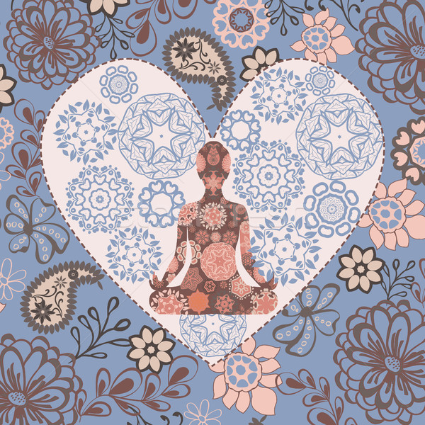 Beautiful background with  lotus position yoga in heart shape. Stock photo © Margolana