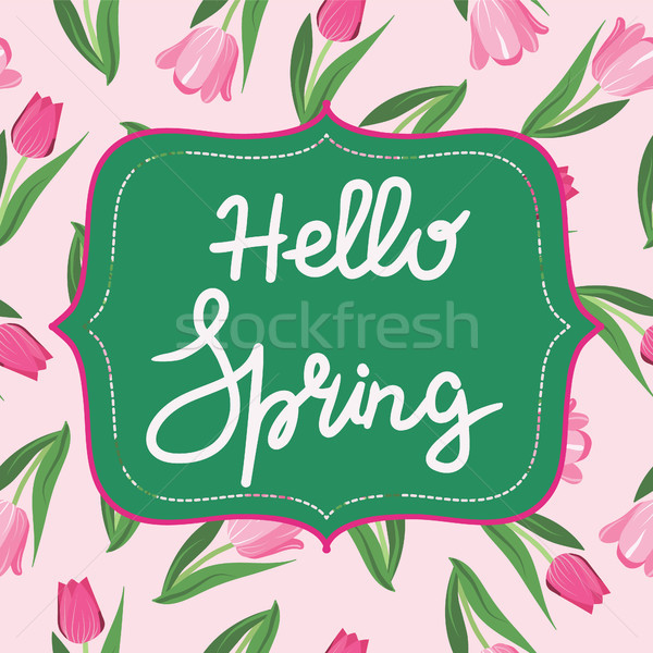 Bright spring background with flower tulips and hello spring tex Stock photo © Margolana