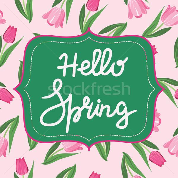 明るい 春の花 チューリップ ハロー 春 文字 ストックフォト © Margolana
