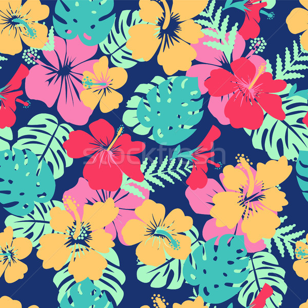 tropical leaves and flowers hibiscus flower hawaii summer backgr Stock photo © Margolana