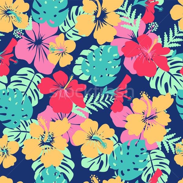 Trópusi levelek virágok hibiszkusz virág Hawaii Stock fotó © Margolana