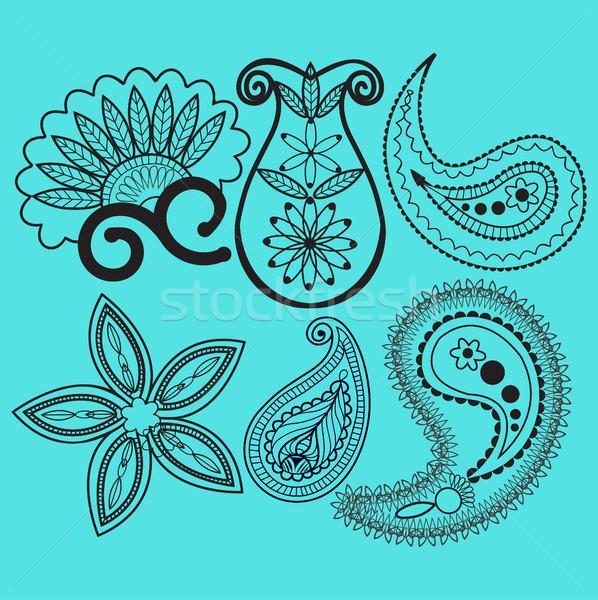 Tourbillons décoration élément vecteur bleu floral Photo stock © Margolana