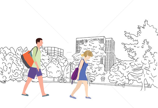 landscape sketch riding a bicycle and couple walking  in the pa Stock photo © Margolana