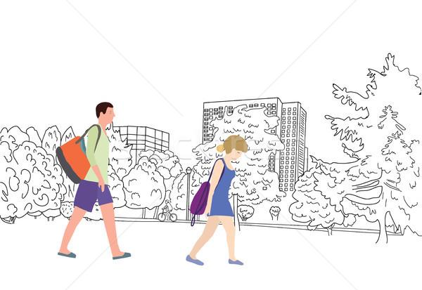 風景 スケッチ ライディング 自転車 カップル 徒歩 ストックフォト © Margolana