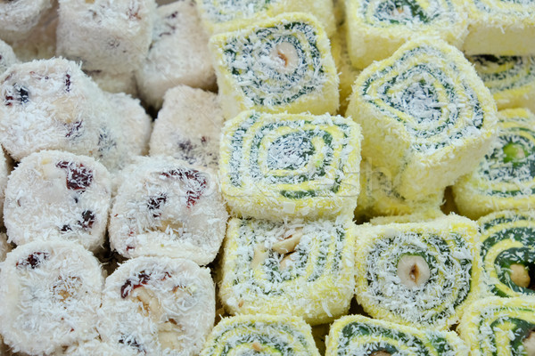 Oriental sweets in the local market, rahat loachum on the table Stock photo © Margolana