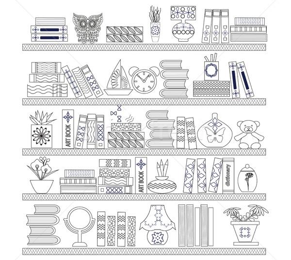 книгах книжные полки иллюстрация белый эскиз стиль Сток-фото © Margolana