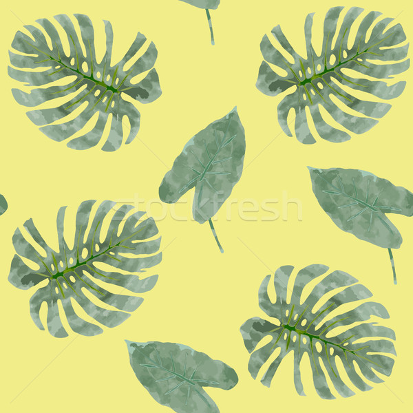 Seamless exotic pattern with tropical leaves.  Stock photo © Margolana