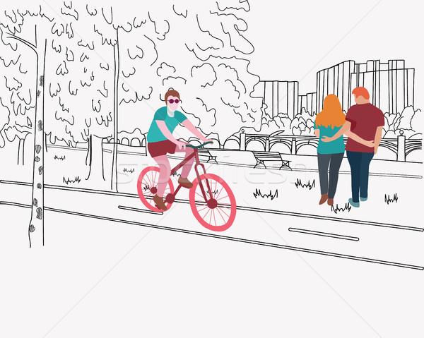 рисованной парка уик-энд иллюстрация графических вектора Сток-фото © Margolana