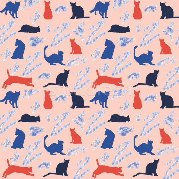 Сток-фото: красочный · кошек · вектора · Cute · Cartoon