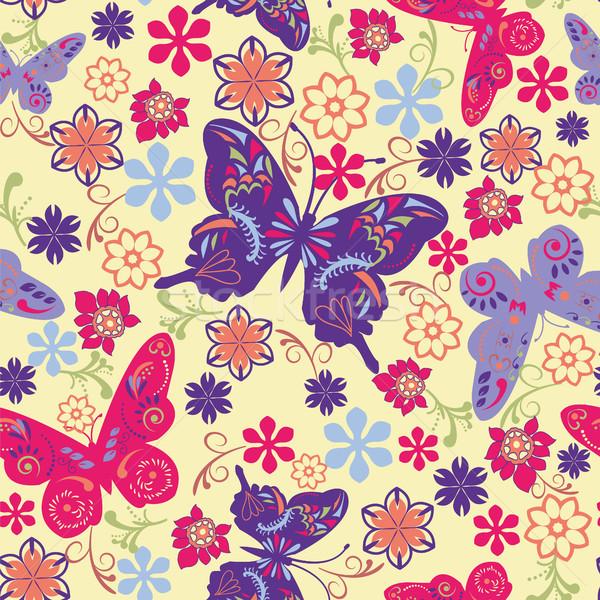 蝶 花 実例 ベクトル 芸術 ストックフォト © Margolana