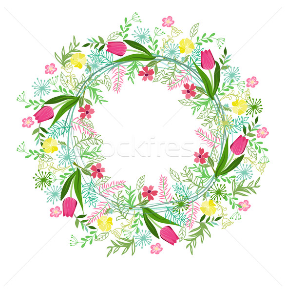 Stock photo: Vector wreath with herbs, tulips and wild flowers isolated on wh